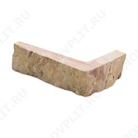 """Угловой камень """"Стрелки"""" доломит желто-розовый """"персик"""" - 30хПогон мм, шуба, пиленый с 3 сторон"""