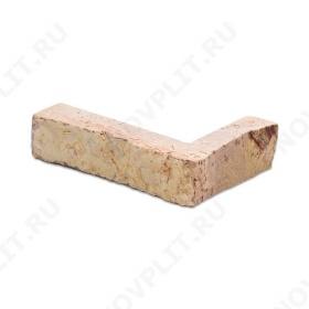 """Угловой камень """"Полоска"""" доломит желто-розовый """"персик"""" - 20хПогон мм, шуба, пиленый с 5 сторон"""