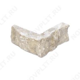 """Угловой камень """"Стрелки"""" доломит бело серый """"изборский"""" - 30хПогон мм, шуба, пиленый с 3 сторон"""