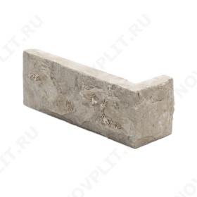 """Угловой камень """"Кирпич"""" доломит бело серый """"изборский"""" - 60х(50+150) мм, со сколом, пиленый с 5 сторон"""