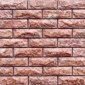 Камень под кирпич доломит малиновый с розовым - 60х200 мм, со сколом, пиленый с 5 сторон