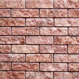 Камень под кирпич доломит малиновый с розовым - 60х200 мм, шуба, галтованный, пиленый с 5 сторон