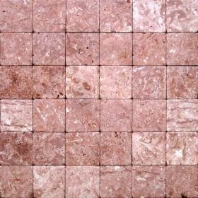 """Камень для пола """"Квадрат"""" доломит малиновый с розовым - 100х100х20 мм, галтованный, пиленый с 6 сторон"""
