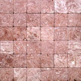 """Камень для пола """"Квадрат"""" доломит малиновый с розовым - 50х50х20 мм, галтованный, пиленый с 6 сторон"""