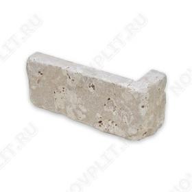 """Угловой камень """"Кирпич"""" доломит светло-серый """"мустанг"""" - 60х(50+150) мм, шуба, галтованный, пиленый с 5 сторон"""