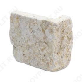 """Угловой камень """"Плитка"""" доломит серый с желтым - 100хПогонх20 мм, шуба, галтованный, пиленый с 5 сторон"""