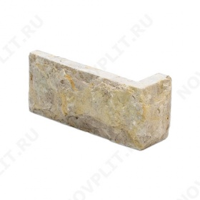 """Угловой камень """"Кирпич"""" доломит серый с желтым - 60х(50+150) мм, со сколом, пиленый с 5 сторон"""