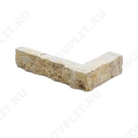 """Угловой камень """"Полоска"""" доломит серый с желтым - 20хПогон мм, шуба, пиленый с 5 сторон"""