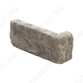 """Угловой камень """"Кирпич"""" доломит серый - 60х(50+150) мм, шуба, галтованный, пиленый с 5 сторон"""