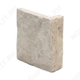 """Угловой камень """"Плитка"""" доломит белый с бежевым - 100хПогон мм, со сколом, пиленый с 5 сторон"""