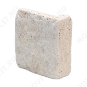 """Угловой камень """"Плитка"""" доломит белый с бежевым - 100хПогонх20 мм, шуба, галтованный, пиленый с 5 сторон"""