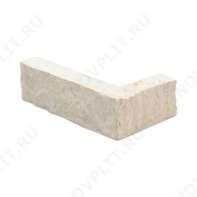 """Угловой камень """"Стрелки"""" доломит белый с бежевым - 30хПогон мм, шуба, пиленый с 3 сторон"""