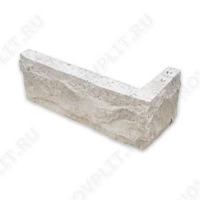 """Угловой камень """"Кирпич"""" доломит белый с бежевым - 60х(50+150) мм, со сколом, пиленый с 5 сторон"""