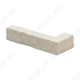 """Угловой камень """"Полоска"""" доломит белый с бежевым - 20хПогон мм, шуба, пиленый с 5 сторон"""