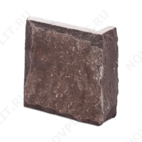 """Угловой камень """"Плитка"""" лемезит бордовый - 100хПогон мм, со сколом, пиленый с 5 сторон"""