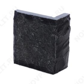 """Угловой камень """"Плитка"""" шунгит тёмно-серый (чёрный) - 100хПогон мм, со сколом, пиленый с 5 сторон"""