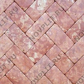 """Брусчатка """"Кирпич"""" доломит малиновый с розовым - 300х150х50 мм, галтованный, пиленый с 6 сторон"""