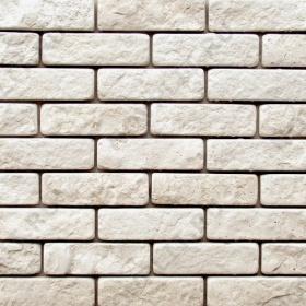 Камень под кирпич доломит белый с бежевым - 60х200 мм, шуба, галтованный, пиленый с 5 сторон