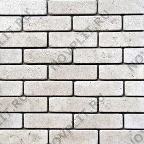 Камень под кирпич доломит белый с бежевым - 60х200х20 мм, галтованный, пиленый с 6 сторон