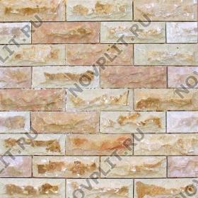 Камень под кирпич доломит кремовый с розовым - 60х200 мм, со сколом, пиленый с 5 сторон
