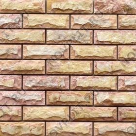 """Камень под кирпич доломит желто-розовый """"персик"""" - 60х200 мм, со сколом, пиленый с 5 сторон"""