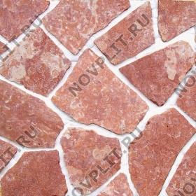 """Камень """"Брекчия"""" доломит малиновый с розовым - 20 мм, пиленая, пиленый с 2 сторон"""