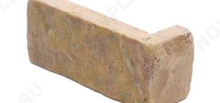 """Угловой камень """"Кирпич"""" доломит желто-розовый """"персик"""" - 60х(50+150) мм, шуба, галтованный, пиленый с 5 сторон"""