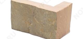 """Угловой камень """"Полоска"""" доломит желто-розовый """"персик"""" - 60хПогон мм, шуба, пиленый с 5 сторон"""