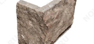 """Угловой камень """"Плитка"""" доломит бурый """"серо-малиновый"""" - 150хПогон мм, со сколом, пиленый с 5 сторон"""