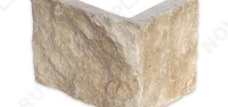 """Угловой камень """"Плитка"""" доломит бежевый - 150хПогон мм, шуба, пиленый с 5 сторон"""