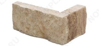"""Угловой камень """"Полоска"""" доломит бежевый - 50хПогон мм, шуба, пиленый с 5 сторон"""
