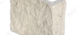 """Угловой камень """"Плитка"""" доломит белый с бежевым - 200хПогон мм, шуба, пиленый с 5 сторон"""