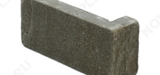"""Угловой камень """"Кирпич"""" песчаник серо-зеленый - 60х(50+150) мм, шуба, галтованный, пиленый с 5 сторон"""
