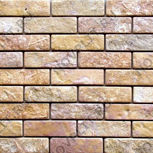 """Камень под кирпич доломит желто-розовый """"персик"""" - 60х200 мм, шуба, галтованный, пиленый с 5 сторон"""