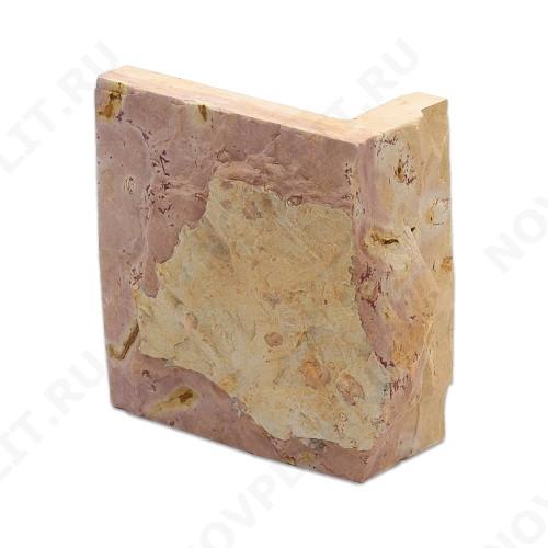 """Угловой камень """"Плитка"""" доломит желто-розовый """"персик"""" - 100хПогон мм, со сколом, пиленый с 5 сторон"""