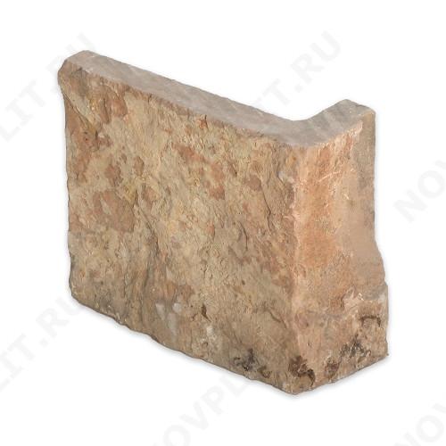 """Угловой камень """"Плитка"""" доломит желто-розовый """"персик"""" - 150хПогон мм, шуба, пиленый с 5 сторон"""