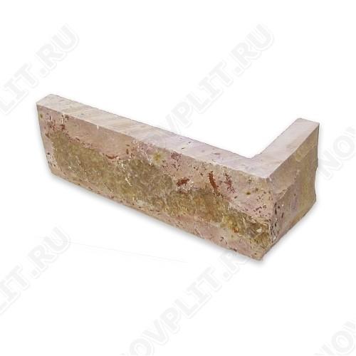"""Угловой камень """"Кирпич"""" доломит желто-розовый """"персик"""" - 60х(50+150) мм, со сколом, пиленый с 5 сторон"""