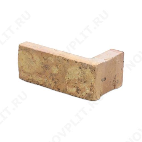 """Угловой камень """"Полоска"""" доломит желто-розовый """"персик"""" - 40хПогон мм, шуба, пиленый с 5 сторон"""