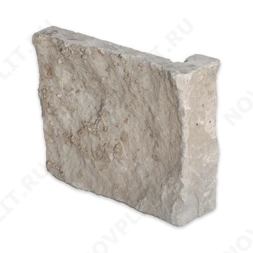 """Угловой камень """"Плитка"""" доломит бело серый """"изборский"""" - 200хПогон мм, шуба, пиленый с 5 сторон"""