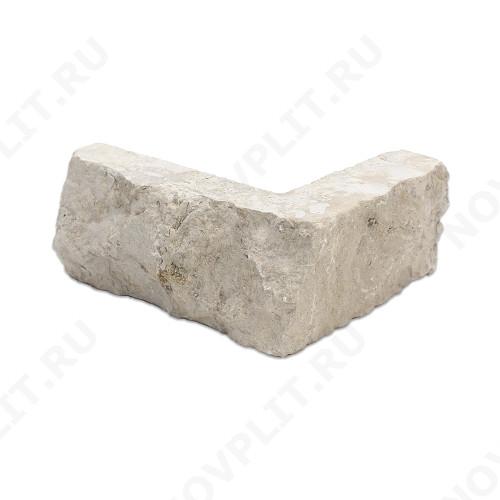 """Угловой камень """"Полоска"""" доломит бело серый """"изборский"""" - 40хПогон мм, шуба, пиленый с 5 сторон"""