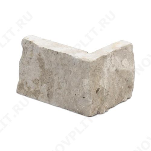 """Угловой камень """"Полоска"""" доломит бело серый """"изборский"""" - 60хПогон мм, шуба, пиленый с 5 сторон"""