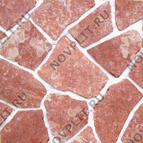 """Камень """"Брекчия"""" доломит малиновый с розовым - 40 мм, пиленая, пиленый с 2 сторон"""