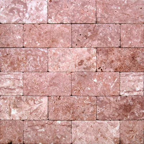 """Камень для пола """"Кирпич"""" доломит малиновый с розовым - 100х50х20 мм, галтованный, пиленый с 6 сторон"""