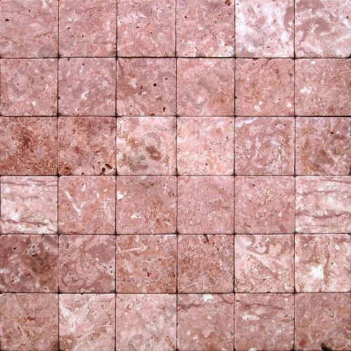"""Камень для пола """"Квадрат"""" доломит малиновый с розовым - 200х200х20 мм, галтованный, пиленый с 6 сторон"""