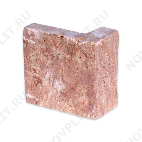 """Угловой камень """"Плитка"""" доломит малиновый с розовым - 100хПогон мм, шуба, пиленый с 5 сторон"""