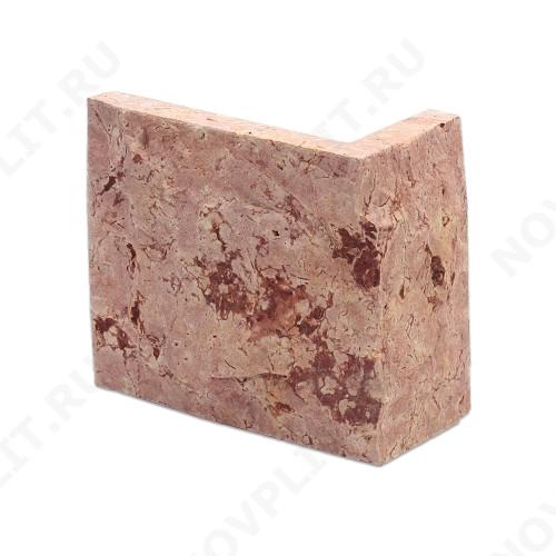 """Угловой камень """"Плитка"""" доломит малиновый с розовым - 100хПогон мм, со сколом, пиленый с 5 сторон"""