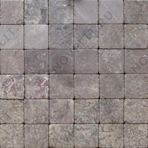 """Камень для пола """"Квадрат"""" доломит бурый """"серо-малиновый"""" - 50х50х20 мм, галтованный, пиленый с 6 сторон"""