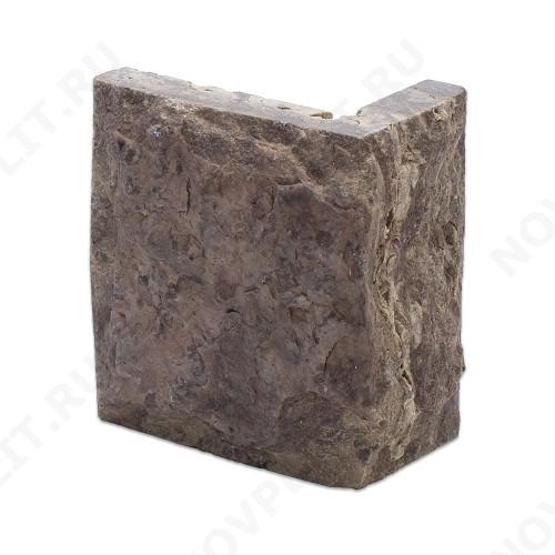 """Угловой камень """"Плитка"""" доломит бурый """"серо-малиновый"""" - 100хПогон мм, со сколом, пиленый с 5 сторон"""