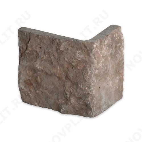 """Угловой камень """"Плитка"""" доломит бурый """"серо-малиновый"""" - 200хПогон мм, шуба, пиленый с 5 сторон"""