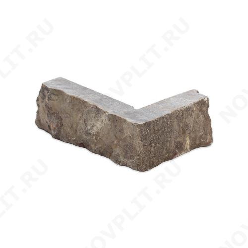 """Угловой камень """"Стрелки"""" доломит бурый """"серо-малиновый"""" - 30хПогон мм, шуба, пиленый с 3 сторон"""